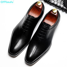 2019 New Fashion Casual Mens Dress Shoes Genuine Leather Lace-up Italian Stylist Flat Formal Oxfords Wedding Shoe