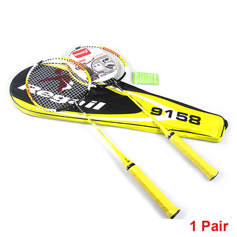 1 Pair Regail 9158 Durable Speed Badminton Racket Battledore Racquet With Carry Bag For Couples Yellow Color