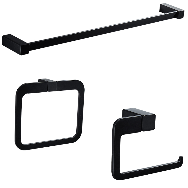 Simple nordic black stainless steel bathroom hardware set ...