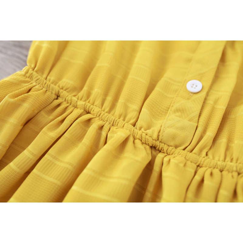 Новое летнее женское платье с воротником-стойкой, повседневное, свободное, однотонное, с коротким рукавом, Boho, платье макси, желтые платья, туника, Vestidos Femininos E144