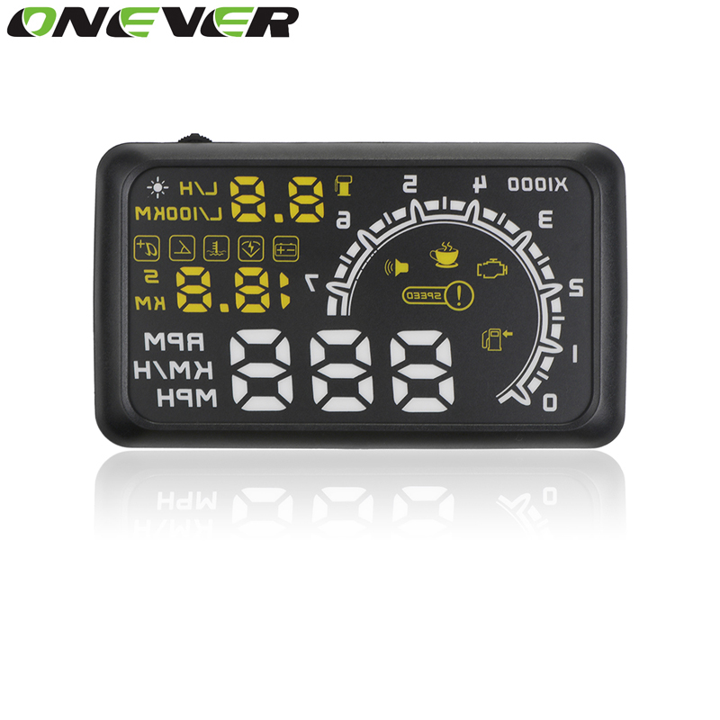 "imágenes para Onever 5.5 ""pantalla Puerto OBD2 OBDII Auto Car HUD Head Up Display Speed Car Proyector Sobrevelocidad Advertencia Parabrisas Proyector de Alarma"