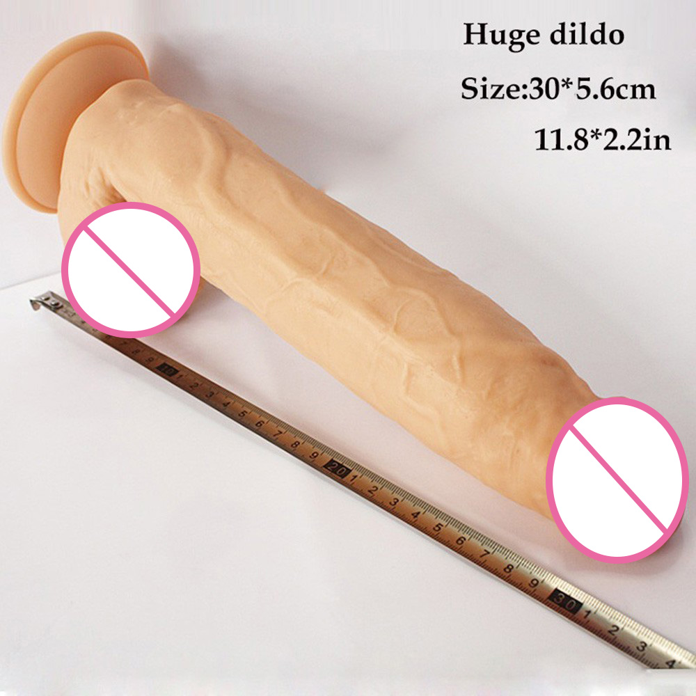 ФОТО 30 * 5.6cm super huge dildos realistic medical silicone fake penis strong suction cups big dick adult sex toys for women 2474