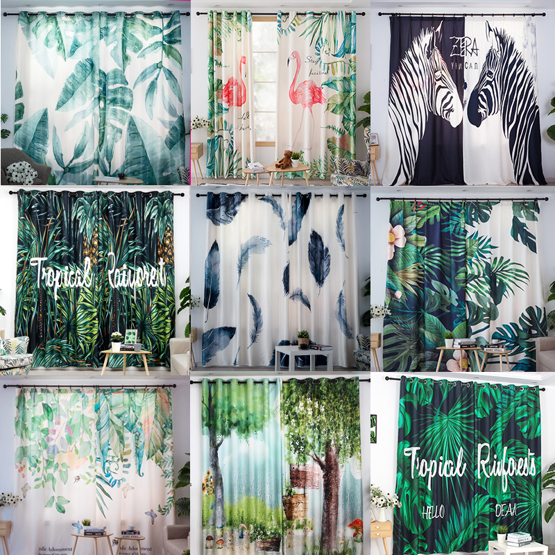 2pcs A Lot Curtains Tropical Plant Printed Curtains for Living Room Curtains Window Valance Cortinas Para