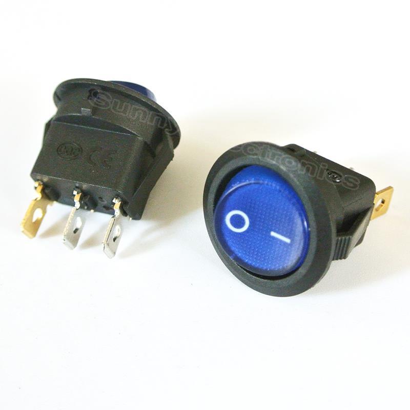 20 X Led Azul Redonda Dot Luz 12v Auto Barco Auto Rocker SPST interruptor de palanca de ventas