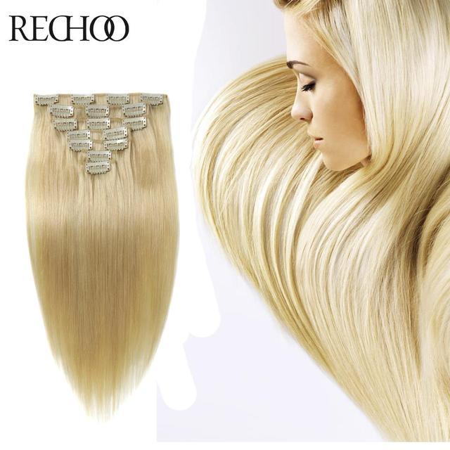 26 Inch Long Luxury Clip In Hair Extensions Bleach Blonde 613 70 175