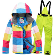 Russia -30 High Quality New 2015 Winter Clothing Set Outerwear Winter Outdoor Ski Women's Suit Set Skiing Windproof Thermal Set