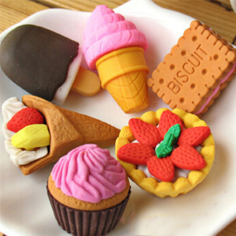 Peerless 4Pcs/Lot Mini Rubber Eraser Stationery Cake Ice Cream Biscuit Shaped Eraser School Supplies Children Learning Toys