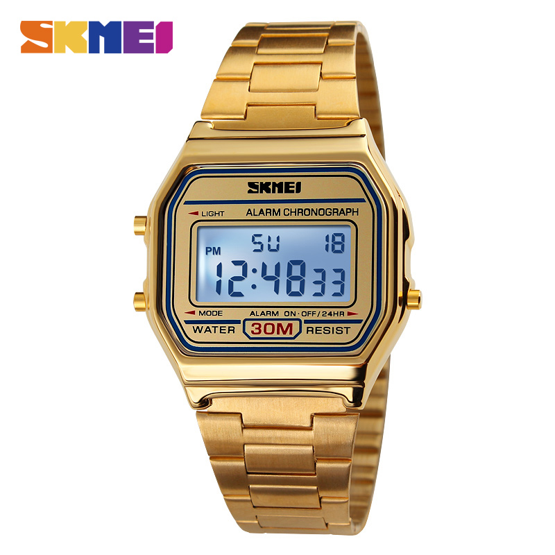 SKMEI Men Fashion Casual Watch LED Man Digital Wristwatches Stainless Steel 30M Waterproof Men Watches Masculino Relojes 1123