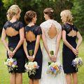 Curto Rendas Vestido de Dama de honra 2017 Vestidos de Dama de honra Empregada Doméstica Das Noivas Vestido Azul Escuro Elegante Formal Vestidos