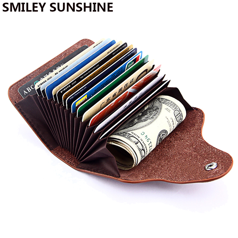 SMILEY SUNSHINE Genuine Leather Unisex Business Card Holder Wallet Bank Credit Card Case ID Holders Women cardholder porte carte(China)