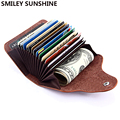 SMILEY SUNSHINE cuero genuino Unisex tarjeta de negocios titular cartera Banco tarjeta de crédito caso ID titular mujeres cardholder porte carte