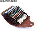 SMILEY sol genuino Unisex de cuero tarjeta titular de la cartera tarjeta de crédito caso ID titulares las mujeres titular de la porte carta