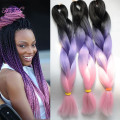 New Arrival Ombre Kanekalon Braiding Hair  Purple Pink 100G 24Inch Synthetic Braids Hair Extension 1-15Pcs Jumbo Braiding Hair