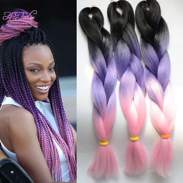 New Arrival Ombre Kanekalon Braiding Hair Purple Pink 100g 24inch Synthetic Braids Extension 1