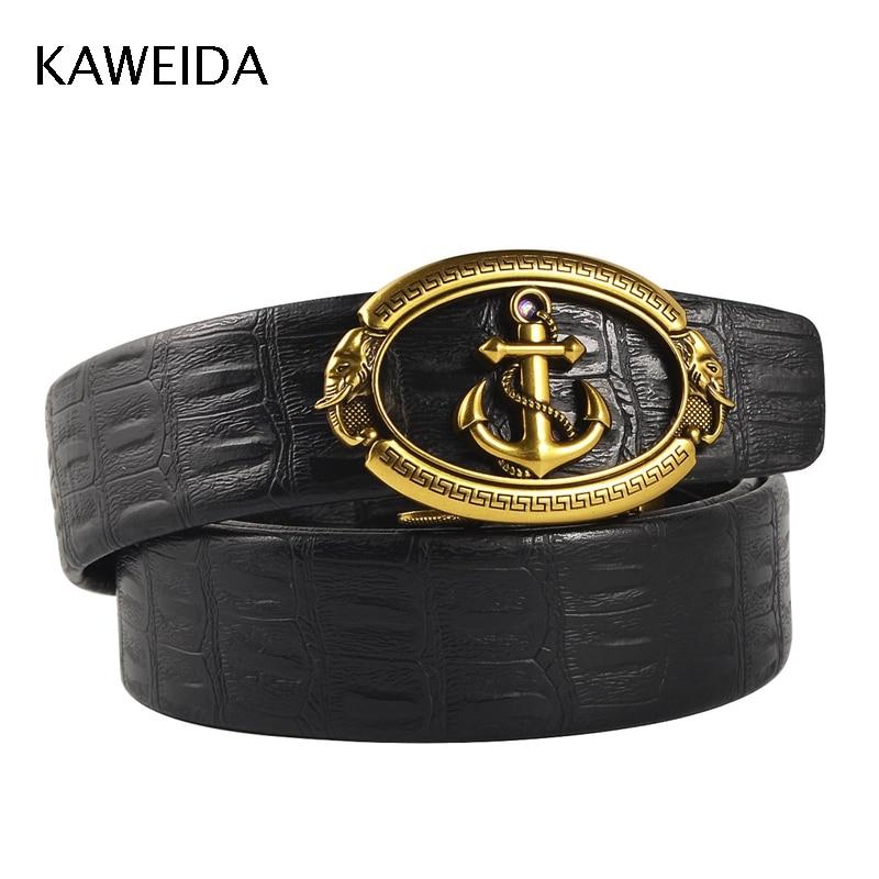 KAWEIDA 2018 Designer Belts High Quality Men Fashion Luxury Gold Anchor Automatic Buckle Leather Waist Belt For Jeans Kemer Riem