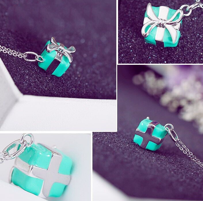 2019 New Authentic 925 sterling silver blue green gift box Tiff charm necklace For Woman Wedding jewelry2019 New Authentic 925 sterling silver blue green gift box Tiff charm necklace For Woman Wedding jewelry