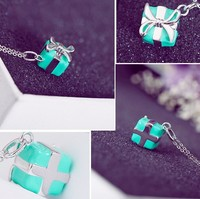 2019 New Authentic 925 sterling silver blue green gift box Tiff charm necklace For Woman Wedding jewelry