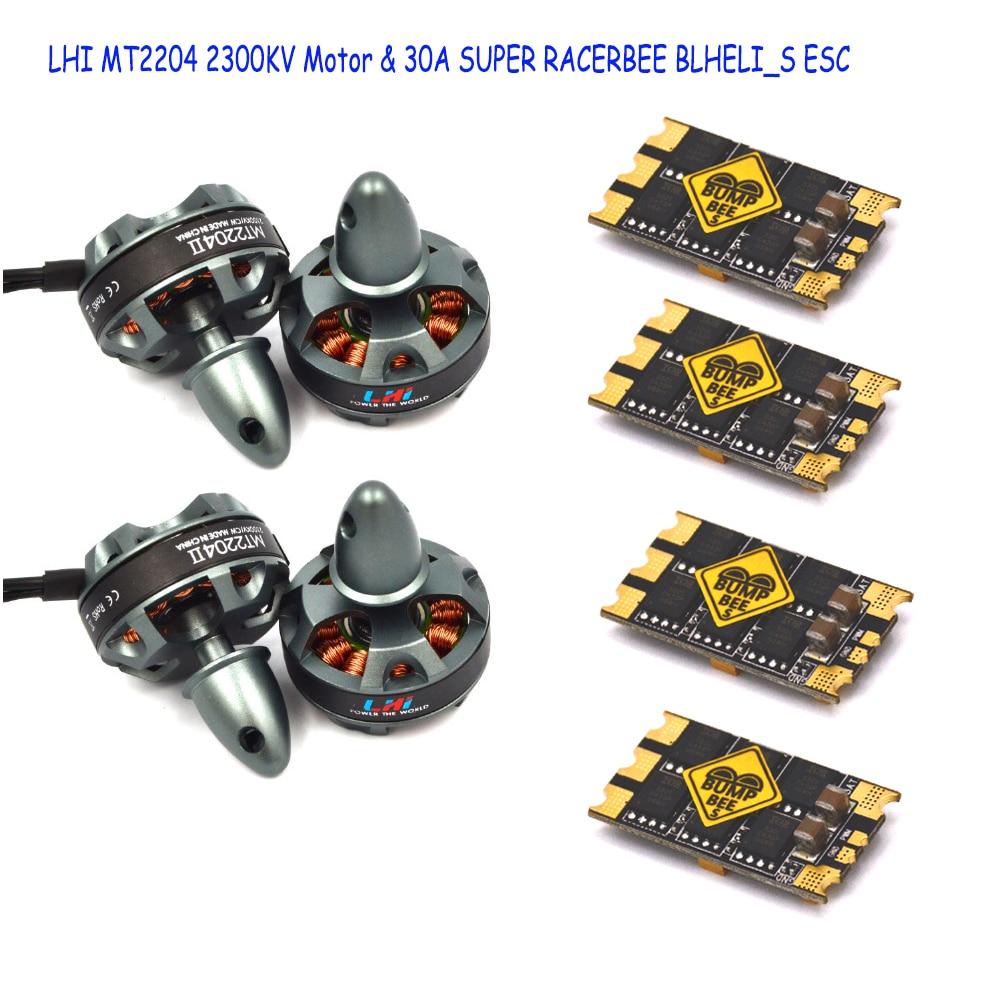 LHI FPV 4x MT2204 2300kv CW CCW FPV Brushless Motor (2-4S)+4 PCS 4 pcs 30A SUPER RACERBEE BLHELI_S (MUILTSHOT) Esc lhi fpv 4x mt22042300kv cw ccw fpv brushless motor 2 4s 4pcs littlebee esc 20a speed controller for mini quadcopter qav250