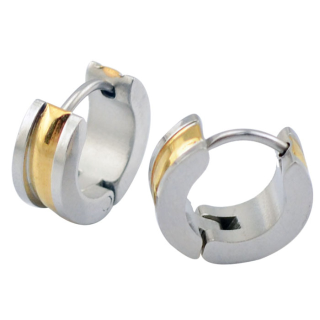 4mm 7mm Mens Stainless Steel Earrings Hoop Huggie Jewelry Hinged Earring Cool Gold