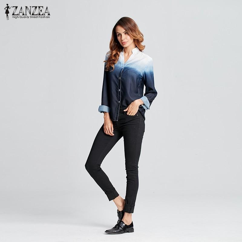 HTB1gewrOFXXXXapXVXXq6xXFXXX7 - Women Blusas Casual Leisure Long Sleeve Sexy V Neck