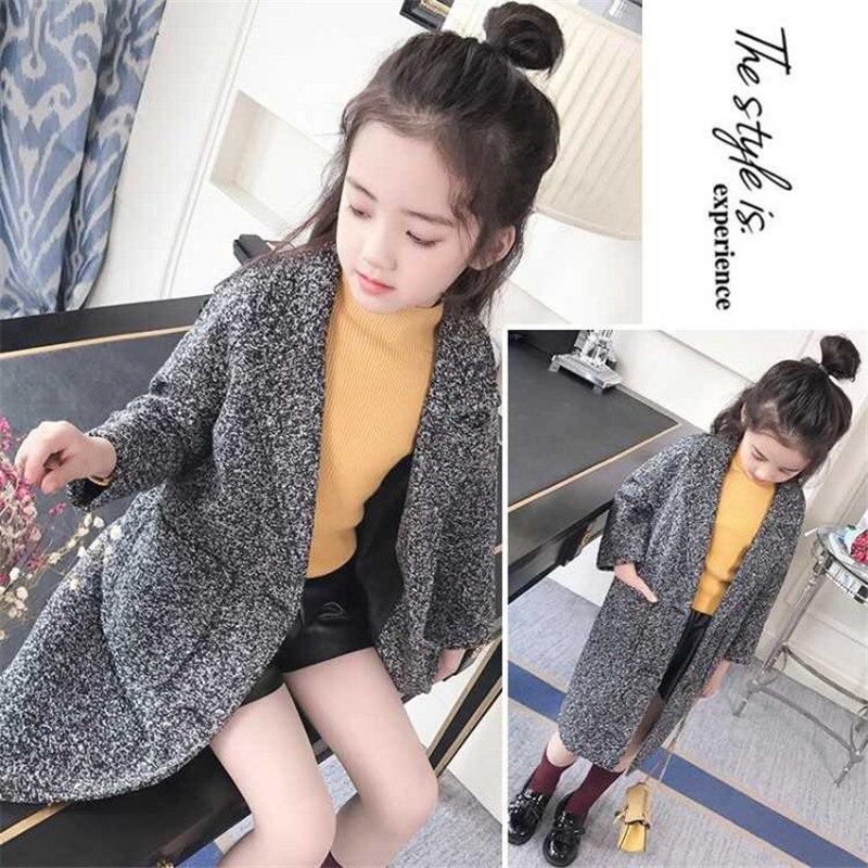Children's wear girls autumn and winter 2018 new style woolen coat fashion children warm woolen Jaqueta solid color elegant coat цена