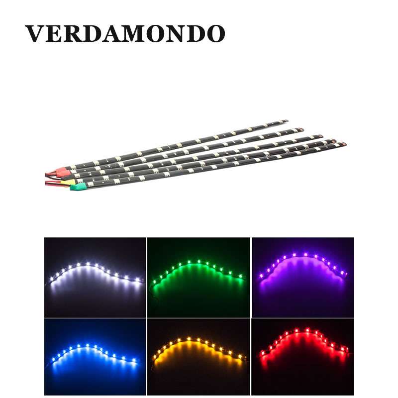 Car Motorcycle LED Strip light 30CM 5050 <font><b>12</b></font> <font><b>SMD</b></font> DRL Styling Decoration Waterproof Strip Fog lamp White Red Green Yellow Pink image