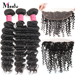 Meetu Indian Deep Wave Bundles with Frontal 3 Bundles with Frontal 100% Human Hair Non Remy Lace Frontal Closure with Bundles
