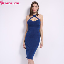 Mofjof Sleeveless thin Knitted  back cross Sexy Party Dresses Glittered  Female Robes Vestidos Shining Women Dress 7 colors