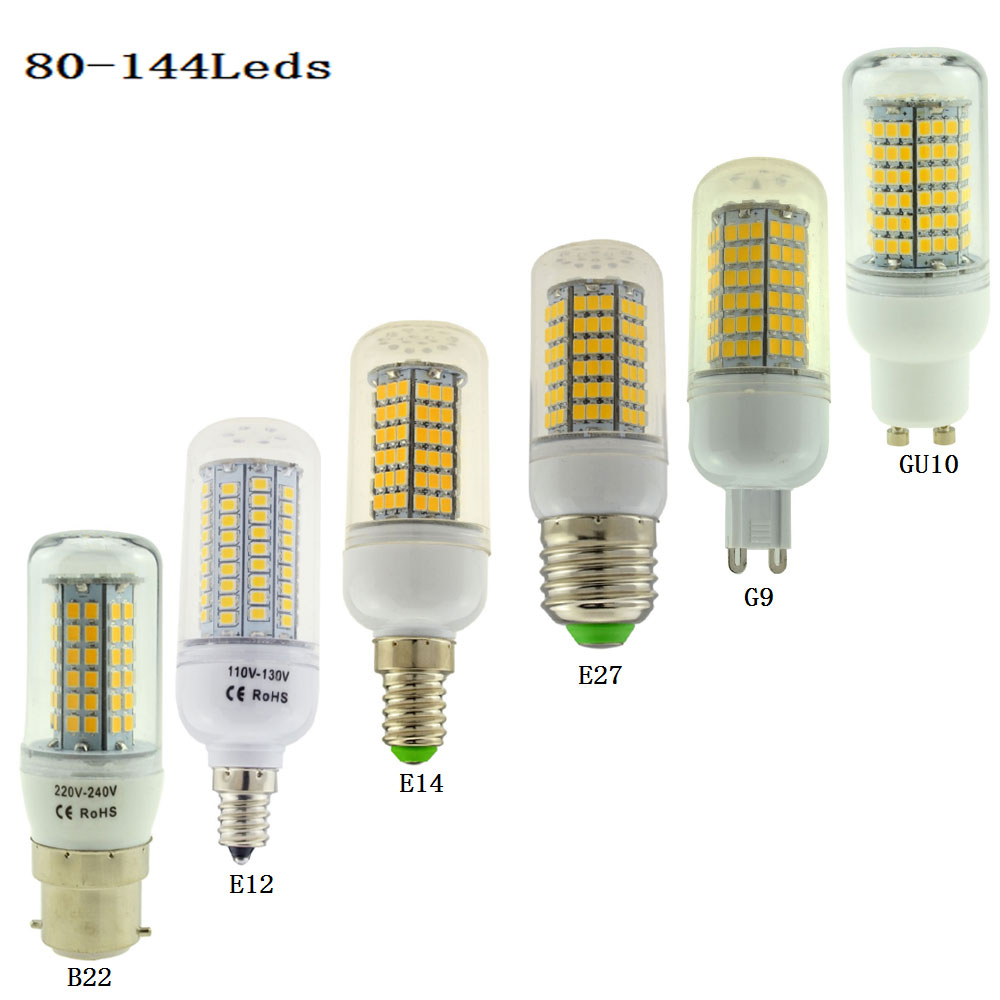led corn bulb b22 e12 e14 e27 g9 gu10 lampada 80 102 120 138 144leds 110v 220v spotlight 25 30w. Black Bedroom Furniture Sets. Home Design Ideas