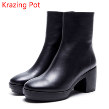 Krazing Pot 2018 cow leather platform decoration solid women round toe square high heels zipper punk style mild-calf boots L02