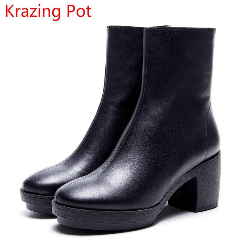 Krazing Pot 2018 cow leather platform decoration solid women round toe square high heels zipper punk