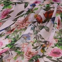 Birds rose flowers printed thin silk chiffon fabric 100% Mulberry silk chiffon clothing fabric women shirt dress tissu au metre