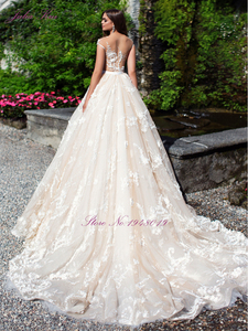 Image 3 - Julia Kui Luxurious  Tulle Scoop Wedding Dress Floral Print Sleeveless Illusion Back A Line 2 In 1 Bride Dress Customize