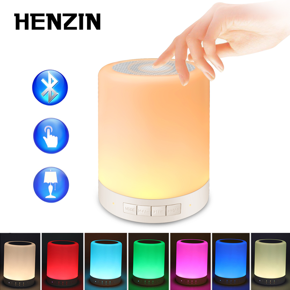 Multifunction Smart Night light LED Bluetooth Speaker Touch Control Colourful Wireless Speaker Table Bedside Lamp w Mic TF AUX