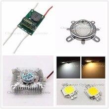 10W Cool White / Warm White High Power LED + 10Watt Driver + 44mm Lens+10w Heatsink 4kit For DIY цена