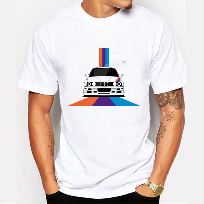 New Arrival Mäns Mode Race Car Design T-shirt Cool Tops Short Sleeve Hipster M3E30 Tee Tees Märke kläder C3-40 #