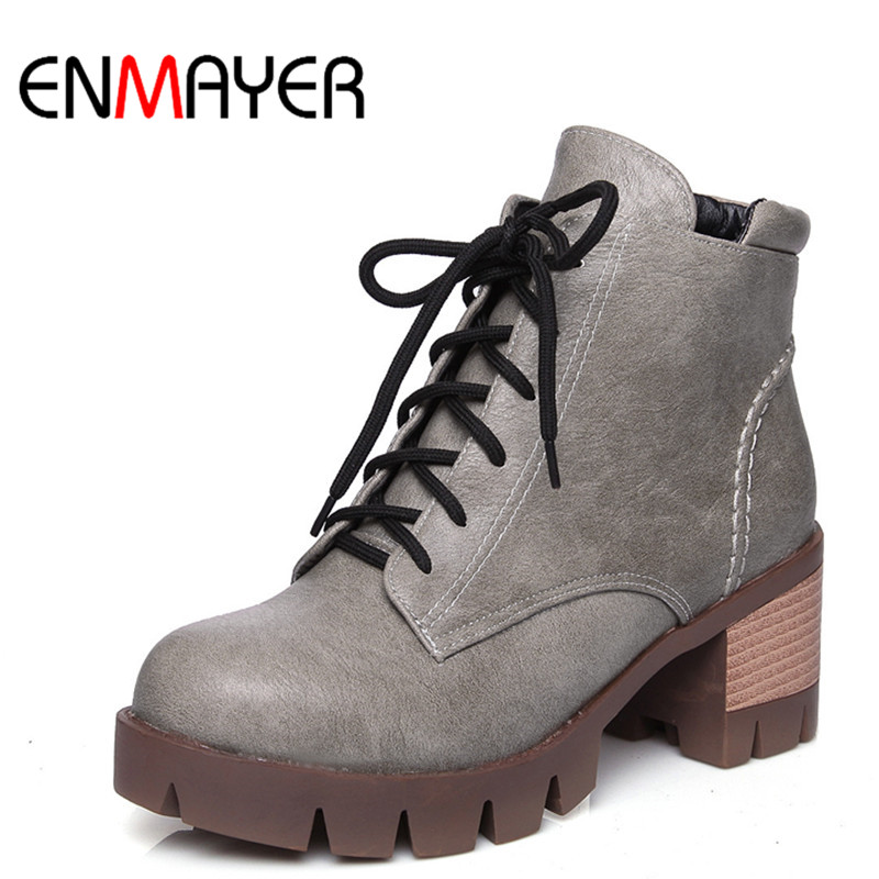 ENMAYER New Fashion Autumn/Winter Ankle Boots for Women Square Heels Round Toe Lace-Up Charm Women Shoes Large Size 34-43 enmayla ankle boots for women low heels autumn and winter boots shoes woman large size 34 43 round toe motorcycle boots