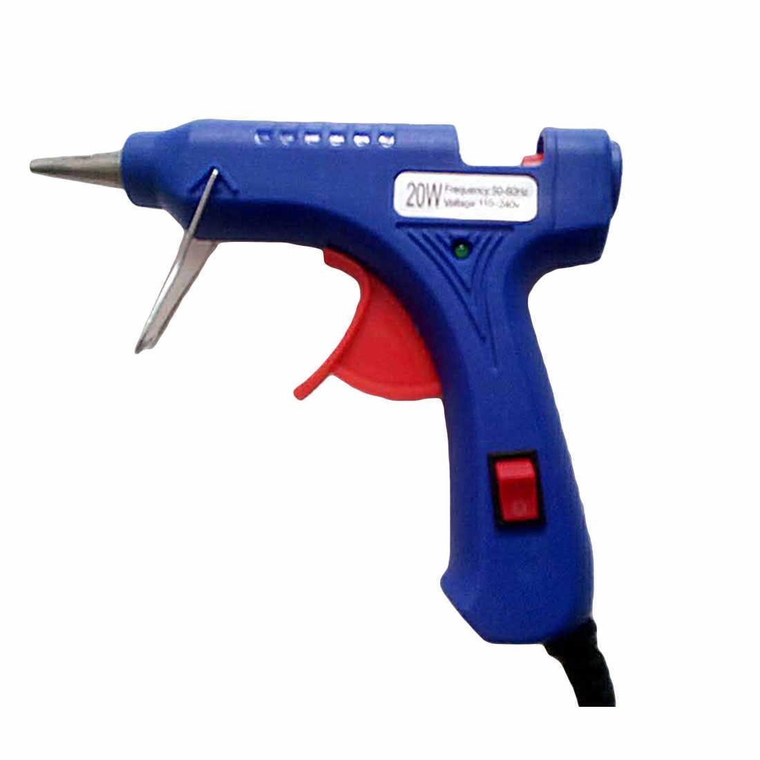 1Pcs High Temp Heater Melt A Hot Glue Gun 20W Repair Tool Heat Gun Blue Mini Gun EU Plug