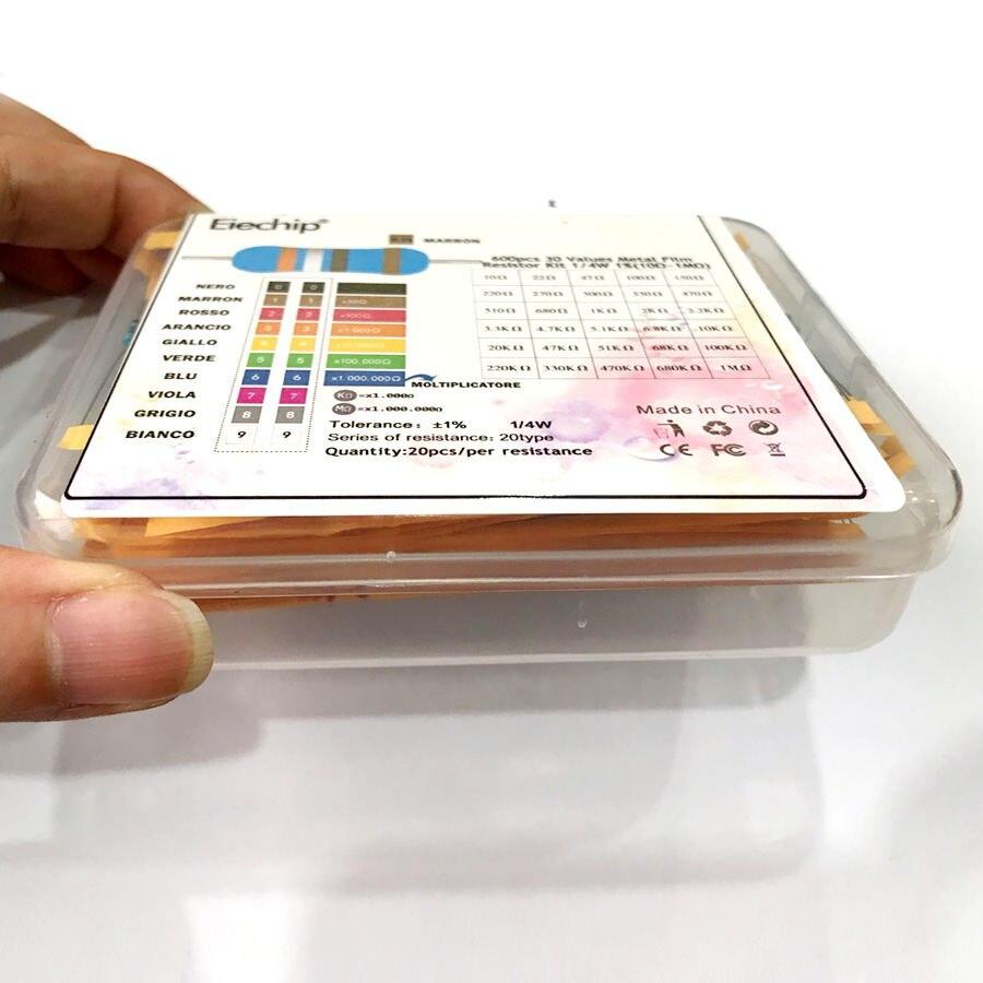 600 шт./лот 30 значений* 20 шт 1% 1/4 Вт Резистор Набор diy металлический пленочный резистор набор использовать цветное кольцо сопротивление(10 Ом~ 1 м Ом