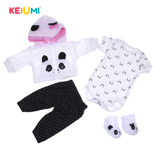 Hot Sale Panda Cartoon Doll Clothes Fit For 17-18 Inch Baby Dolls Handmade Doll Clothing Reborn Doll Accessories Toddler Gifts(China)