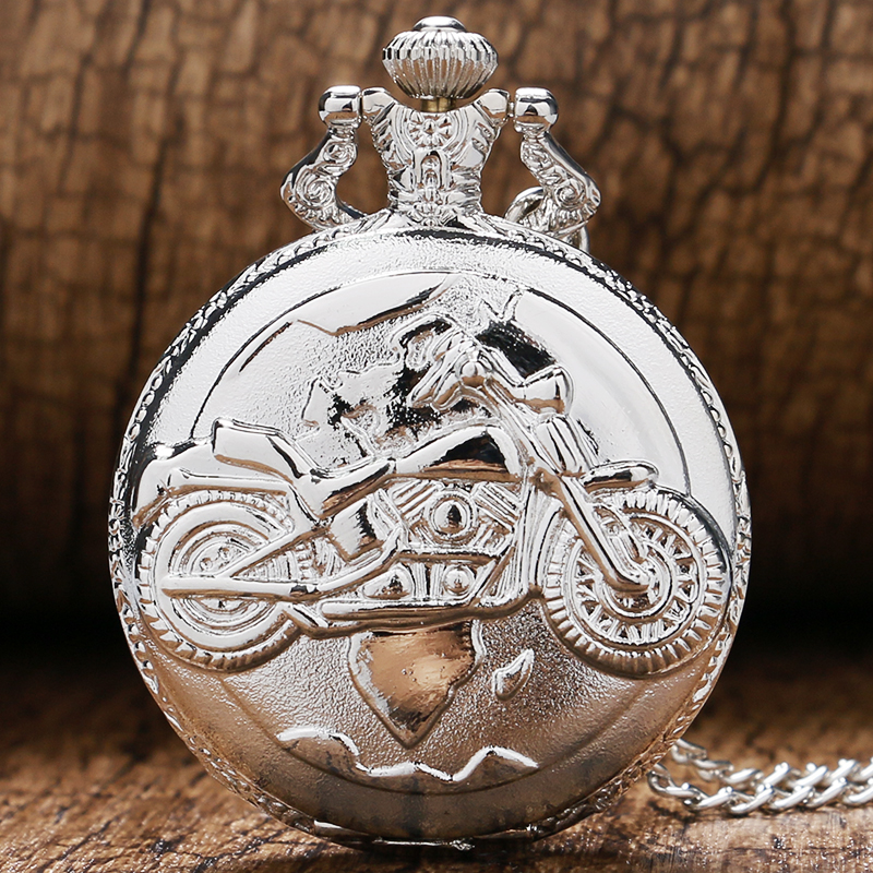 Silver Color Pocket Watch Motorcycles Pattern Relogio De Bolso Quartz Watch With Necklace Chain P455