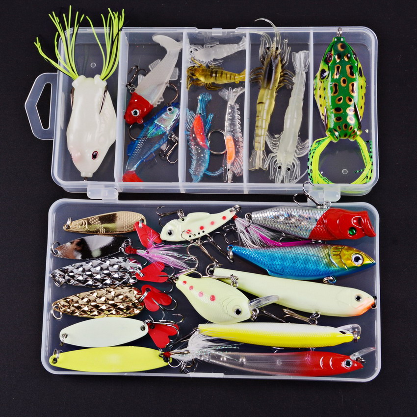 Artificial Fishing Lure Kit 23pcs Luminous Night Lures Minnow/Popper Spinner VIB Spoon Lure Frog Soft Lures With Box Isca Baits goture 96pcs fishing lure kit minnow popper spinner jig heads offset worms hook swivels metal spoon with fishing tackle box