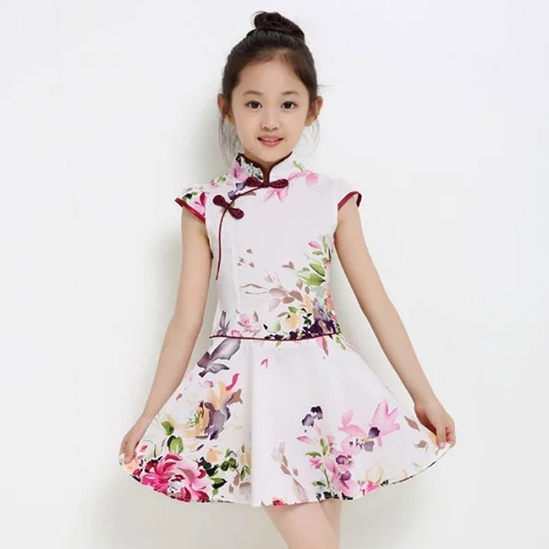 Chinese Traditional Dress Children Clothes Oriental Style Cheongsam Short Sleeve Dress Cotton Girls Clothing Chinese Cheongsam