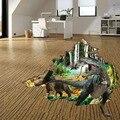 3D Животные Динозавр наклейки на стену s для детей детские комнаты художественная роспись Парк Юрского периода Наклейки на стены домашний Декор водонепроницаемый ПВХ наклейка на пол - фото