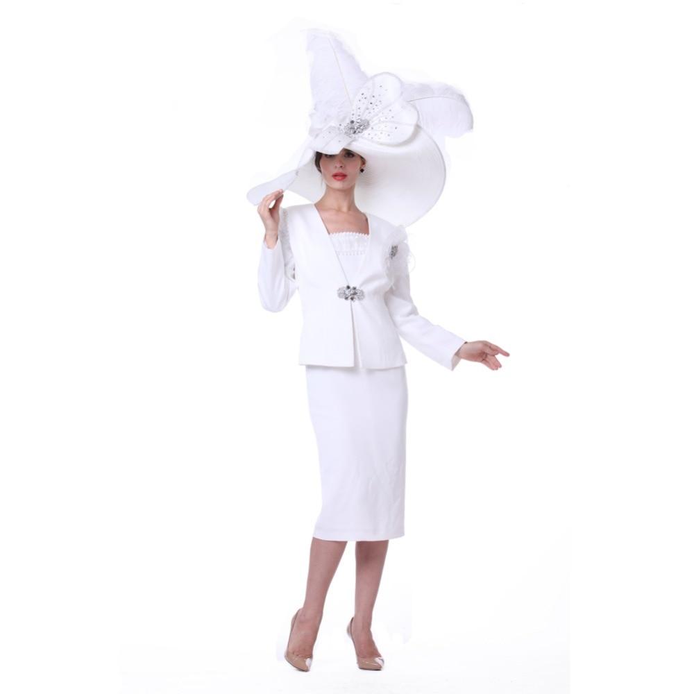 Kueeni Women Church Suits 3PCS Jacket Vest Skirts Mother