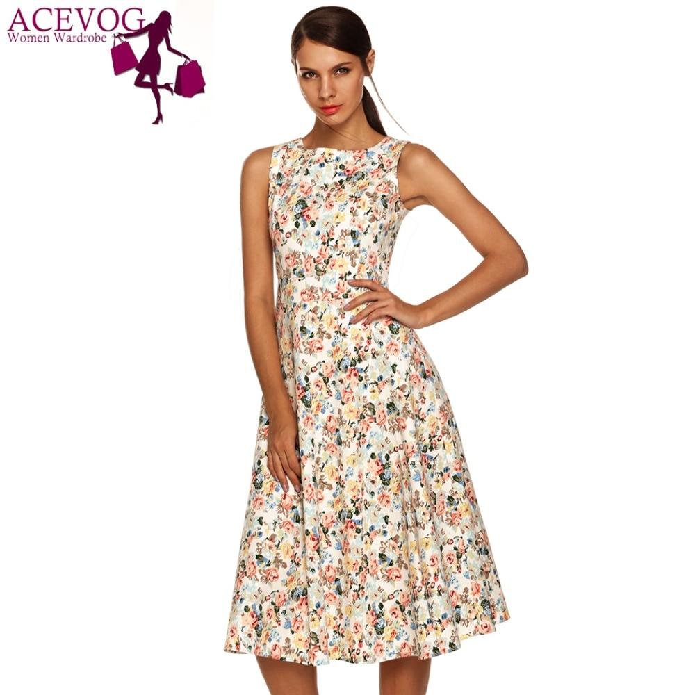 Acevog mujeres dress del verano sin mangas de la vendimia 50 s rockabilly ucrani