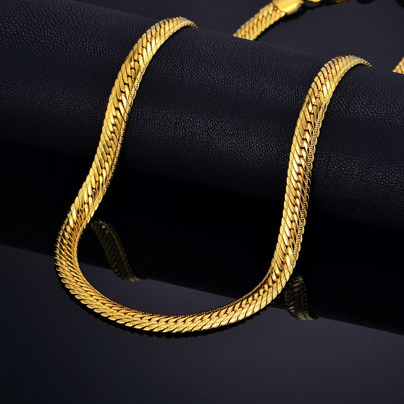 Muž Hiphop Silný zlatý řetízek náhrdelník, značka Snake Gold Chains Gold-Color, Hiphop Chain Men Šperky Velkoobchod