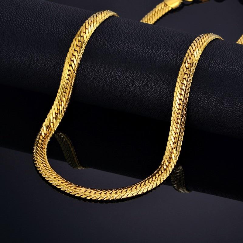 Lelaki Hiphop tebal Gold Chain Link Kalung, Brand Snake Gold Chains Gold-Warna, Hiphop Chain Men Jewelry Wholesale