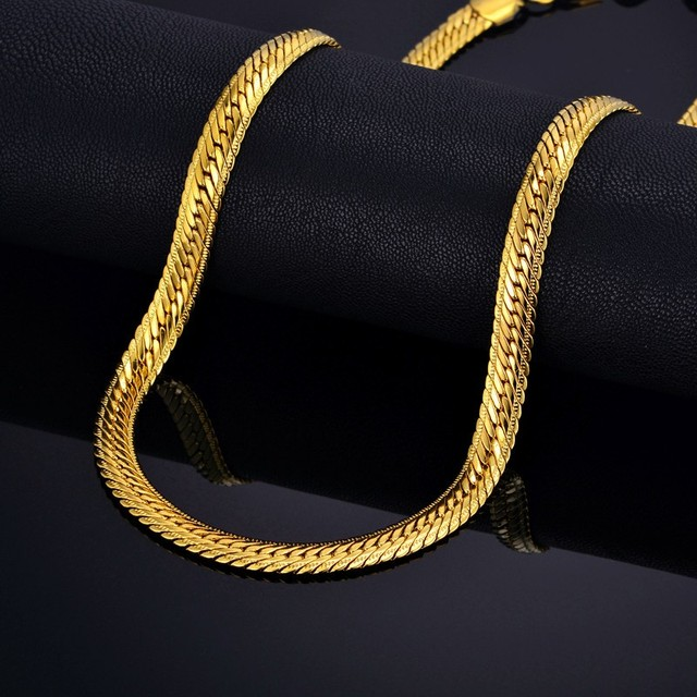 Male Hiphop Thick Gold Chain Link Necklace, Brand Snake Gold Chains Gold-Color, Hiphop Chain Men Jewelry Wholesale