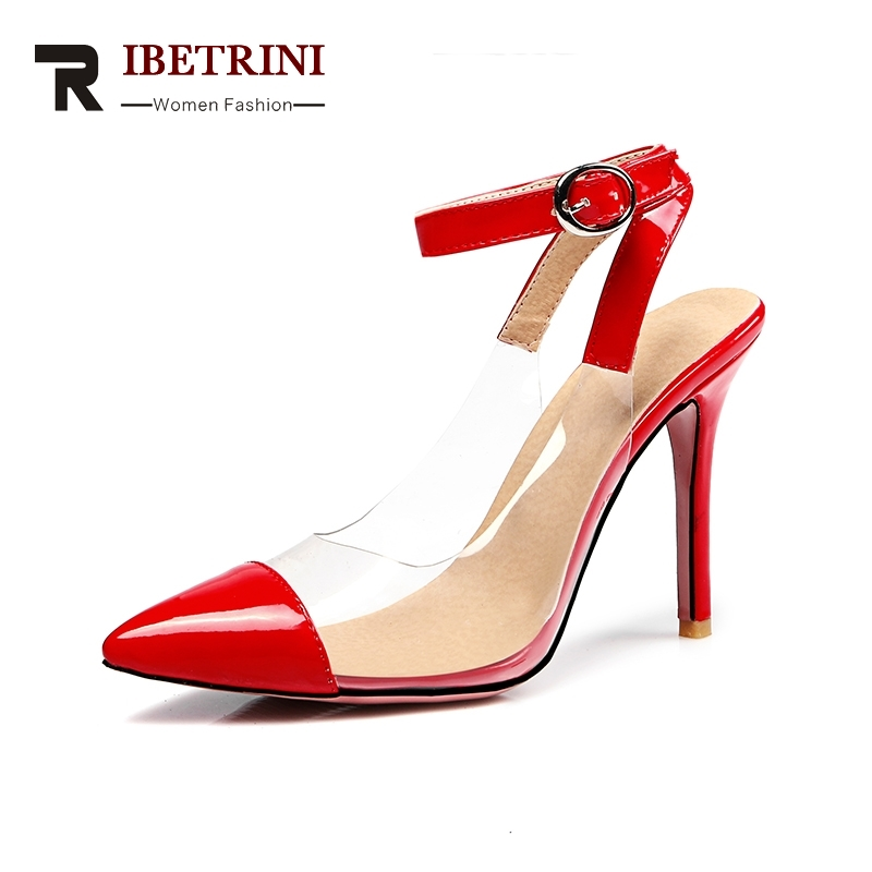 RIBETRINI Brand New Big Size 31-47 Summer Pointedtoe Shoes Women Pumps Sexy Party Prom High Heels Red Pumps Woman